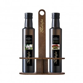 Set of 2 0.25L Glass Bottles + wooden holder