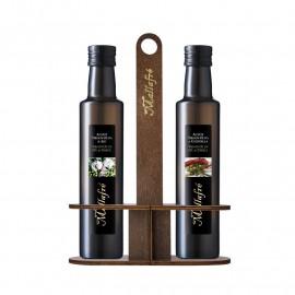 Set of 2 0.25L Glass Bottles + wooden holder