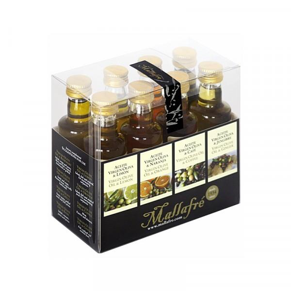 Aceite virgen de oliva aromatizado -  Lote de 8 botellines de vidrio de 40 ml