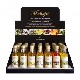 Aceite virgen de oliva aromatizado -  Expositor de 42 botellines de vidrio de 40 ml