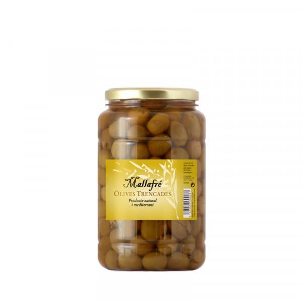 Aceitunas arbequinas partidas - Bote de vidrio de 1 kg