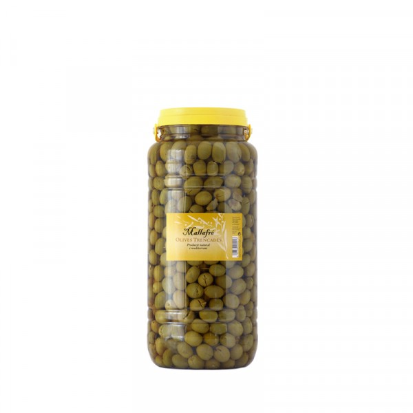 Aceitunas arbequinas partidas - Bote de plástico de 3 kg