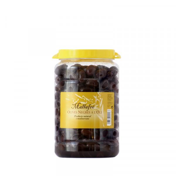 Aceitunas negras en aceite - Bote de plástico de 1 kg